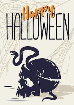 Czaszka z wężem na halloweenowy plakat szkieletowy halloweenowy nieumarły i chodzący trupy