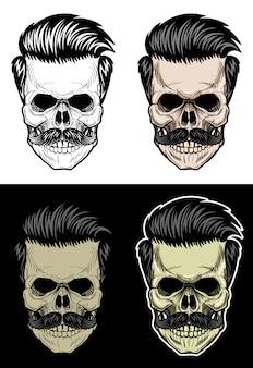 Czaszka z włosami i wąsami, rysunek czaszki w 4 stylowych kolorach