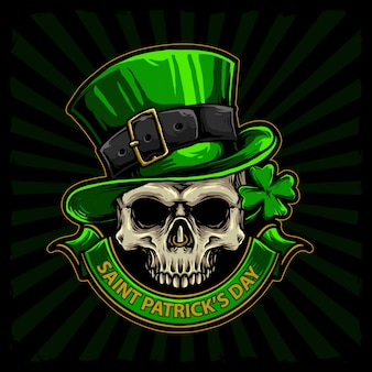 Czaszka z zielonym kapeluszem i czterolistną koniczyną dla st patrick dnia ręka rysującego wektoru
