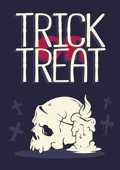 Czaszka ze świecą na plakat szkieletu halloween