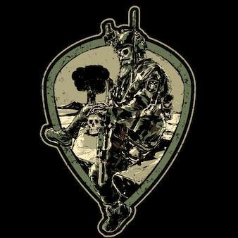 Czaszka żołnierz z pistoletem