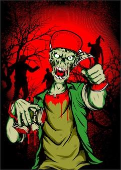 Czaszka zombie w czapce, ręczne rysowanie dłoni, na białym tle