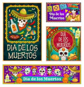 Czaszki dia de los muertos i catrina z motywem sombrero i kwiatów nagietka. meksykański dzień zmarłych cukrowe czaszki, marakasy i tequila, kości szkieletowe, flagi, słodki chleb i kaktusy
