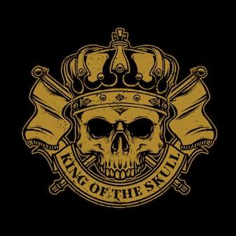 Czaszki z koroną króla i flagą królestwa
