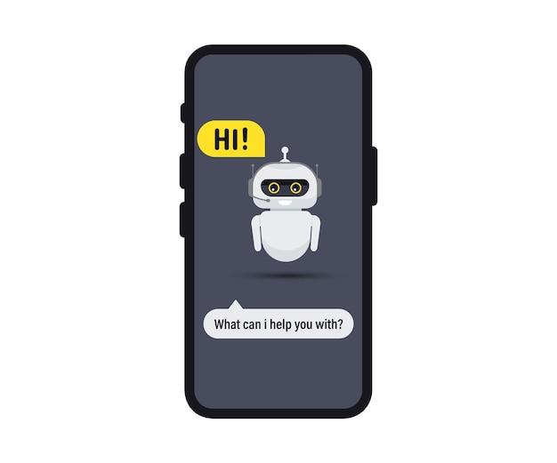 Czat bot w smartfonie. ikona komunikatora czatu. ikona wsparcia lub serwisu. bot pomocy technicznej mówi użytkownikom witam. pozdrawia chatbot. konsultacje online. obsługa klienta, wsparcie, pomoc, call center