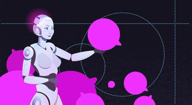 Czat bot za pomocą bąbelków kobieta robot wirtualna pomoc strony internetowej lub aplikacji mobilnych koncepcja obsługi komunikatora sztucznej inteligencji