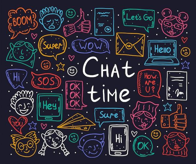 Czat czasu kreskówka, doodle, clipart, zestaw elementów, naklejki, ikony. dymek, wiadomość, emoji, list, gadżet. czarny, monochromatyczny design.