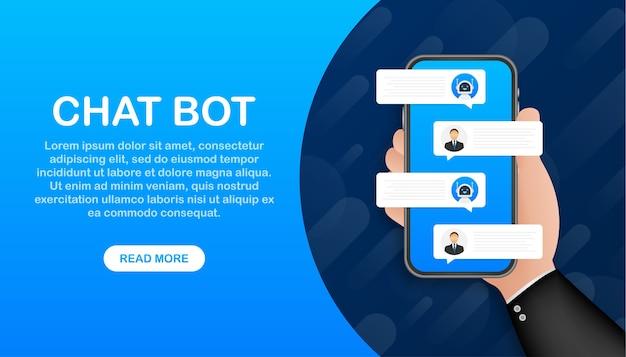 Czat koncepcja robota bot na ekranie laptopa. szablon banera internetowego