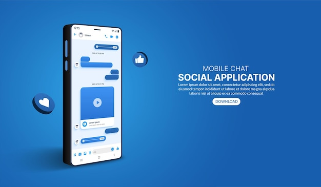 Czat mobilny online w aplikacji mediów społecznościowych szablon messenger w formie koncepcji smartfona 3d