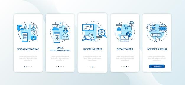 Czat online i praca na odległość, onboarding ekran strony aplikacji mobilnej z koncepcjami. przeglądanie internetu i e-mail 5 kroków instrukcji graficznych. szablon wektorowy interfejsu użytkownika z kolorowymi ilustracjami rgb