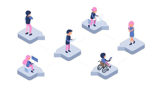 Czat online. nowoczesna sieć komunikacyjna. izometryczne ludzie z gadżetami na czacie ilustracja. mobilny czat online, społeczność komunikacyjna