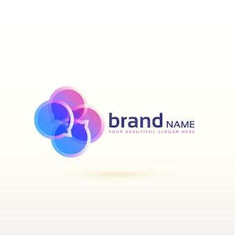 Czat symbolu logo w abstrakcyjny styl