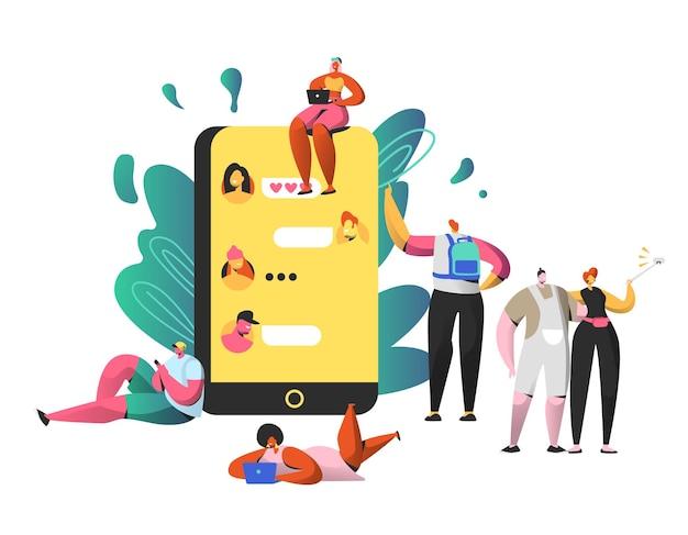 Czat w sieci społecznościowej na dużym smartfonie. mężczyzna i kobieta razem robią selfie.