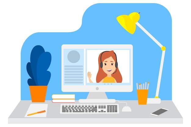 Czat wideo z młodą dziewczyną. komunikacja przez internet. rozmowa online. ilustracja