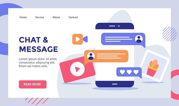 Czat z wiadomością tekstową kampanię wideo na czacie dla strony głównej strony głównej strony głównej szablonu banera strony docelowej z nowoczesnym
