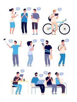 Czatować ludzi. osoby prowadzące rozmowy online, szukające znajomych w internecie.