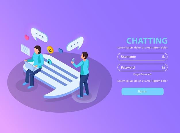 Czatowanie na stronie internetowej, na której loguje się izometryczna ilustracja z użytkownikami randek, uwielbiają bąbelki z symbolami wiadomości