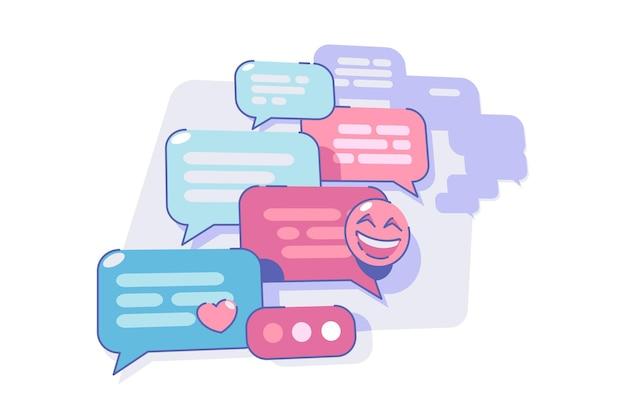 Czatowanie przez komunikator aplikacji wektorowej nowoczesny sposób na rozmowę na smartfonie płaski zabawa emoji komunikacji i koncepcja technologii na białym tle