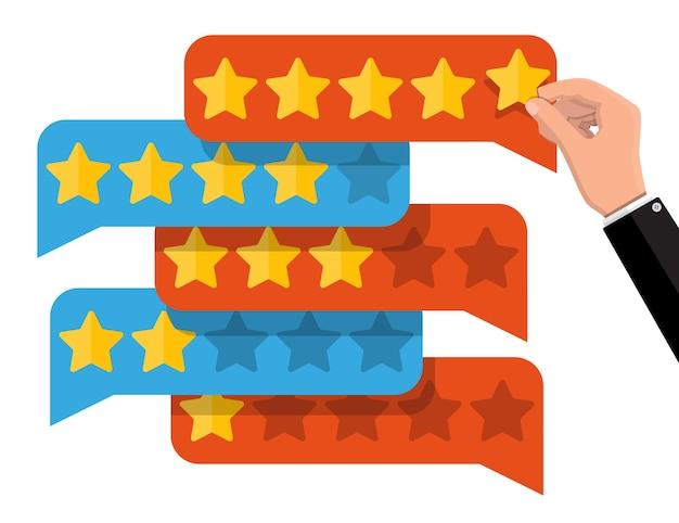 Czatuj chmury ze złotymi gwiazdami. recenzje pięć gwiazdek. referencje, oceny, opinie, ankiety, jakość i recenzja. ilustracja w stylu płaskiej