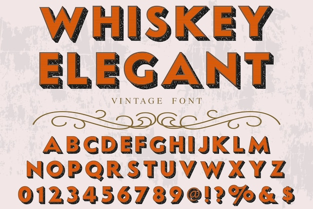 Czcionka alfabetu 3d skrypt krój pisma odręczny projekt etykiety o nazwie vintage whisky elegancki