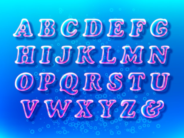 Czcionka alfabetu bąbelków powietrza z przezroczystością i cieniami na niebieskiej przestrzeni wodnej
