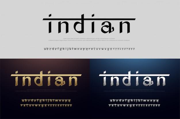 Czcionka alfabetu indii srebrny i złoty. nowoczesny indyjski