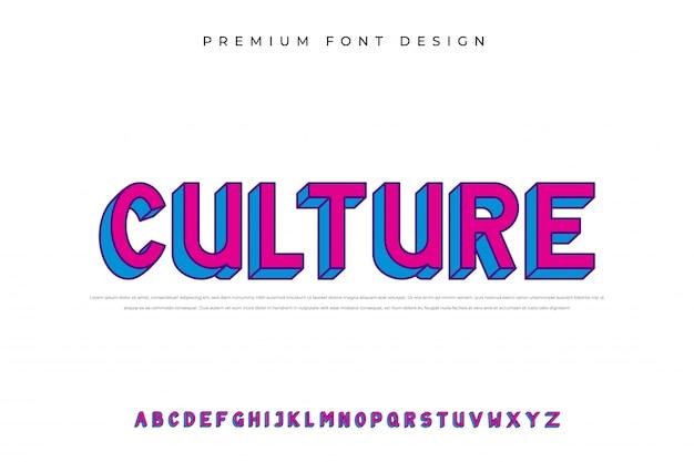 Czcionka alfabetu kultury pop-art