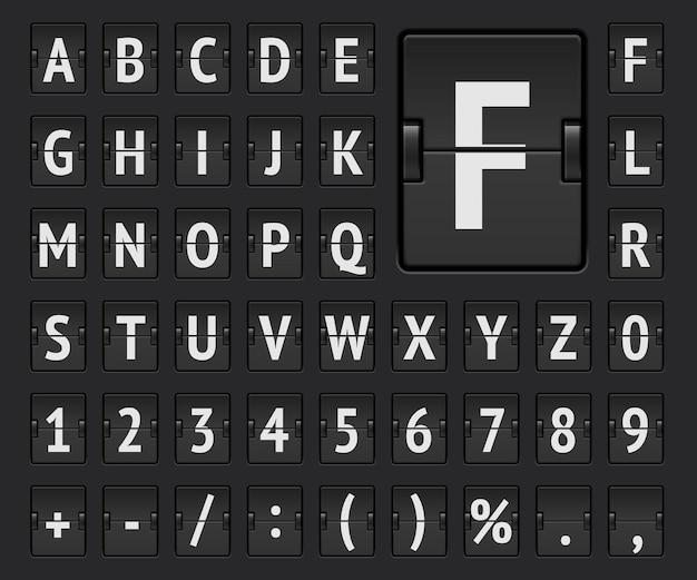 Czcionka alfabetu mechanicznej tablicy wyników terminalu lotniskowego z numerami do wyświetlania informacji o odlocie, miejscu docelowym lub przylotu oraz harmonogramie. ilustracja wektorowa.