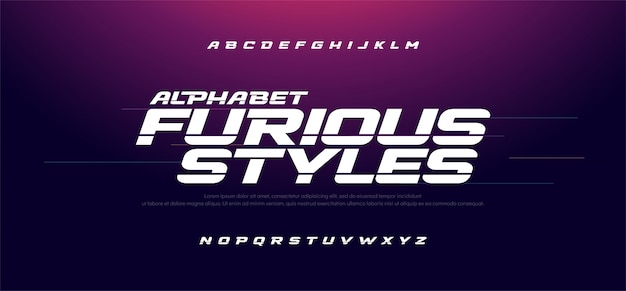 Czcionka alfabetu sport nowoczesny szybki wściekły kursywa