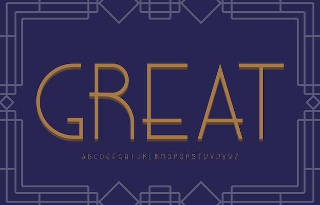 Czcionka alfabetu vintage w stylu art deco. koncepcja typografii