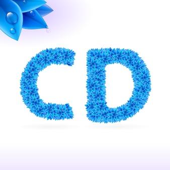 Czcionka bezszeryfowa z dekoracją w postaci niebieskich liści