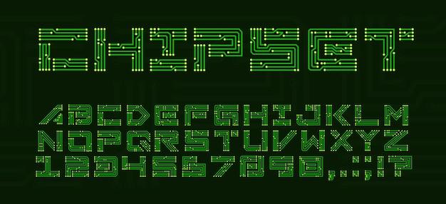 Czcionka chipsetu z literami płytek drukowanych. techno typ abc z płytą główną elektroniki