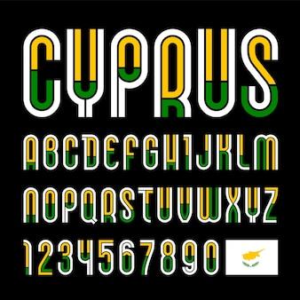 Czcionka cypr. modny jasny alfabet, kolorowe litery na szarym tle.