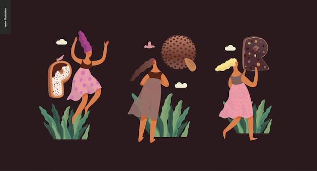 Czcionka deserowa abc-nowoczesny płaski wektor koncepcja cyfrowa ilustracja kuszenie czcionki, słodki napis i dziewczyny. litery karmelowe, toffi, herbatniki, gofry, ciasteczka, śmietana i czekolada