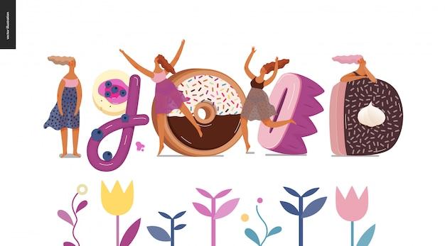 Czcionka deserowa - nowoczesna koncepcja płaski wektor cyfrowy ilustracja kuszenie czcionki, słodki napis i dziewczyny. litery karmelowe, toffi, herbatniki, gofry, ciasteczka, śmietana i czekolada. napis dobry