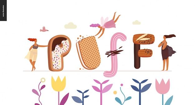 Czcionka deserowa - nowoczesna koncepcja płaski wektor cyfrowy ilustracja kuszenie czcionki, słodki napis i dziewczyny. litery karmelowe, toffi, herbatniki, gofry, ciasteczka, śmietana i czekolada. puff lettering