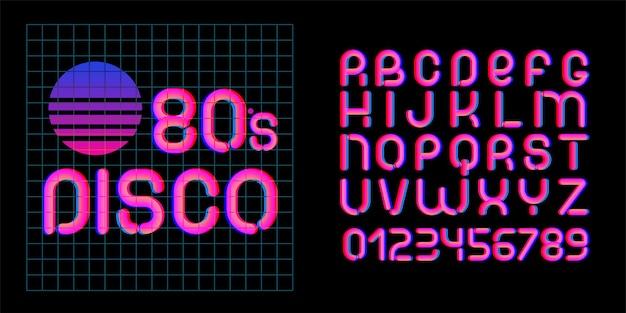 Czcionka disco z lat 80. litery estetyki lat 70-80. wektor alfabet w stylu retro futuryzmu.