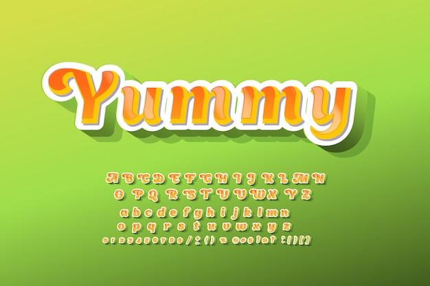 Czcionka dla dzieci 3d pogrubiona typografia bez stylu serif