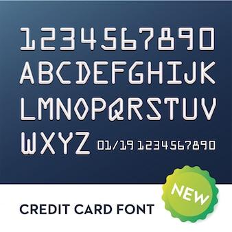 Czcionka dla kart kredytowych. alfabet typografii
