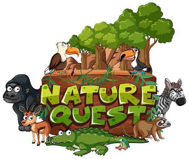 Czcionka do poszukiwania natury słowa ze zwierzętami