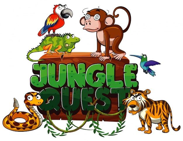 Czcionka do wyprawy po dżungli z wieloma dzikimi zwierzętami