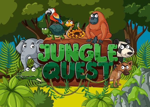 Czcionka do zadania w dżungli z wieloma zwierzętami w lesie