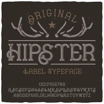 Czcionka etykiety hipster
