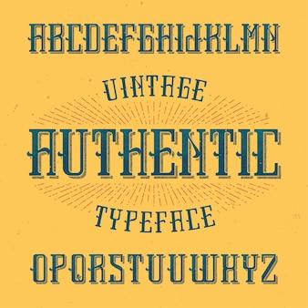 Czcionka etykiety vintage o nazwie authentic. dobry do użycia w dowolnych kreatywnych etykietach.