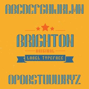 Czcionka etykiety vintage o nazwie brighton