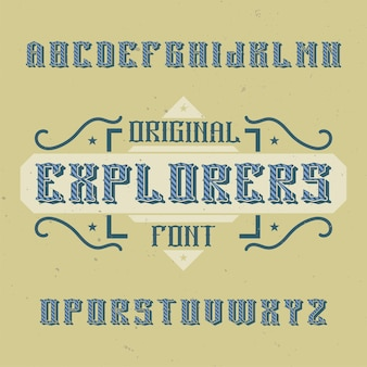 Czcionka etykiety vintage o nazwie explorers