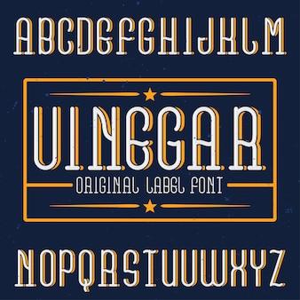 Czcionka etykiety vintage o nazwie ocet. dobry do użycia w dowolnych kreatywnych etykietach.
