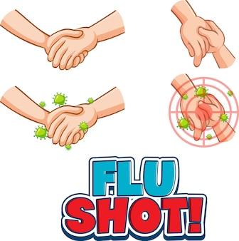 Czcionka grypy strzał w stylu kreskówki z rękami trzymającymi się razem na białym tle