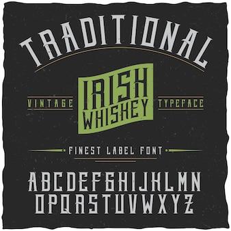 Czcionka i próbka irlandzkiej whisky