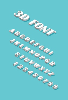 Czcionka izometryczna. zestaw liter i cyfr na białym tle na niebieskim tle. alfabet 3d.